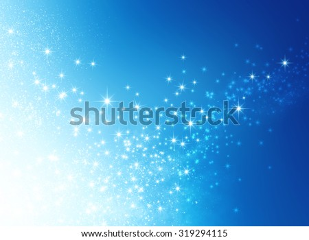 Magic shiny blue background with starlight explosion - stock photo