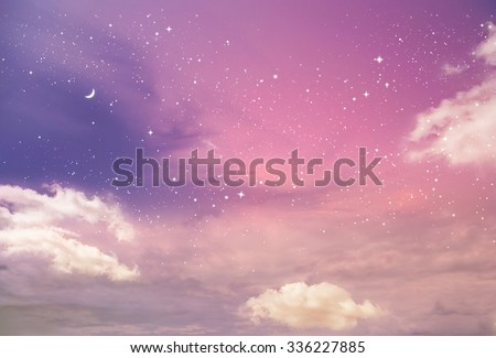Magic sky background with stars - stock photo