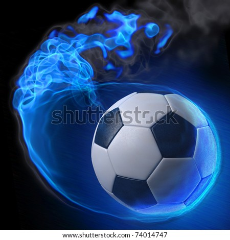 magic soccer ball in the blue flame. - stock photo