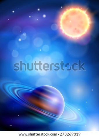 Magic Space - planets, stars and constellations, nebulae and galaxies, lights - stock photo