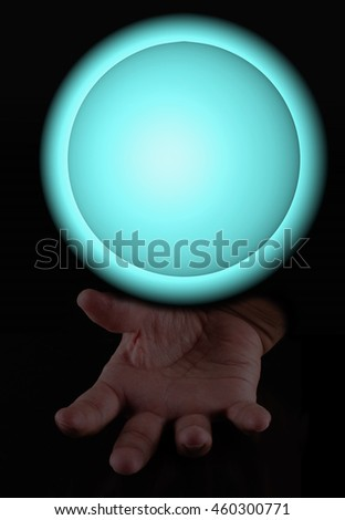 Magic sphere over male hand, vertical image, 3d rendering (cube) - stock photo