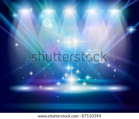 Magic Spotlights with Blue rays and glowing effect for people or product advertising. - stock photo