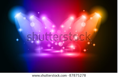Magic Spotlights with Blue rays and glowing effect for people or product advertising. Every lights and shadow are transparent. - stock photo