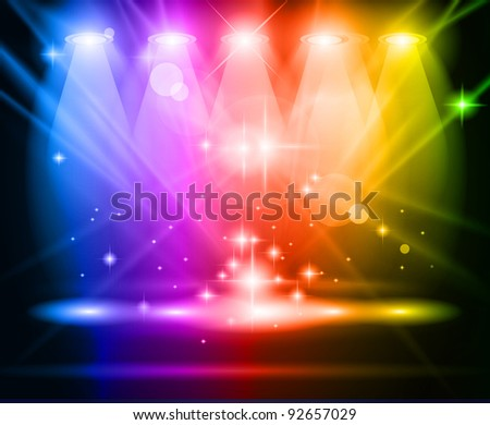 Magic Spotlights with Rainbow rays and glowing effect for people or product advertising. Every lights and shadows are transparent. - stock photo