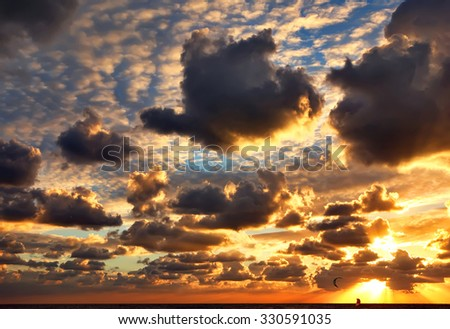 Magic sunset sky over the Mediterranean sea - stock photo