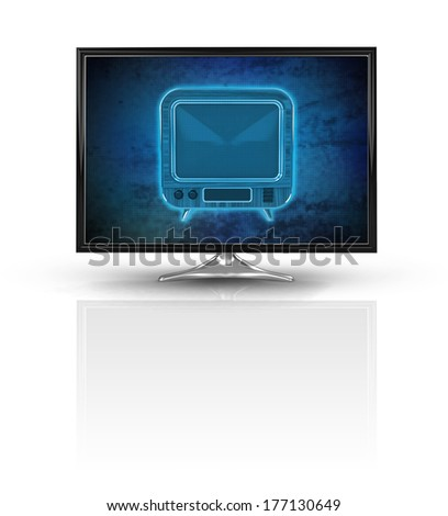 magic television on blue new modern screen isolated on white illustration - stock photo