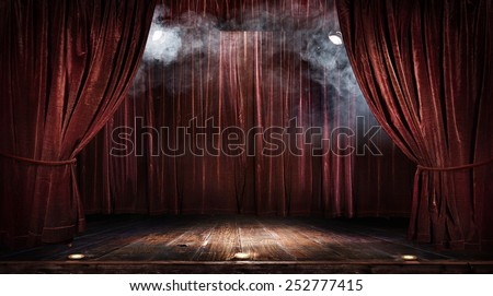 Magic theater stage red curtains Show Spotlight - stock photo
