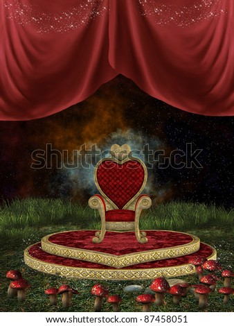 Magic throne with curtain grass and mushroom - stock photo