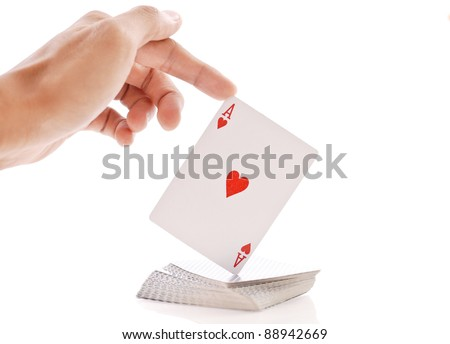 Magic Tricks with Playing Cards - stock photo