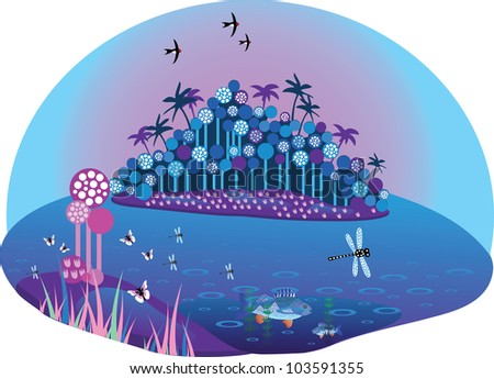 Magic tropical island on sunset with a lot of details - fishes, dragonflies, butterflies, tropical foliage - stock photo