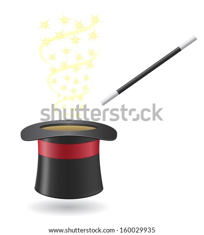 magic wand and cylinder hat illustration isolated on white background