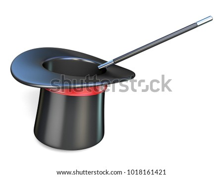 Magic wand and hat 3D render illustration isolated on white background