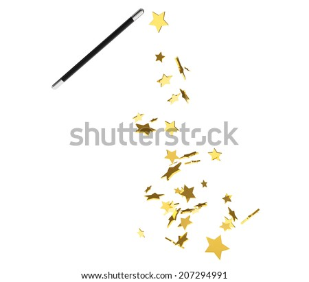 Magic wand casting shiny golden stars on a white background - stock photo