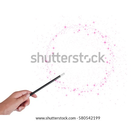 Magic wand in woman's hand with pink stars circle isolated on white background. With copy space. Make wishes come true.