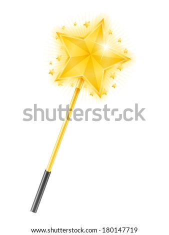 Magic wand with golden star on white background