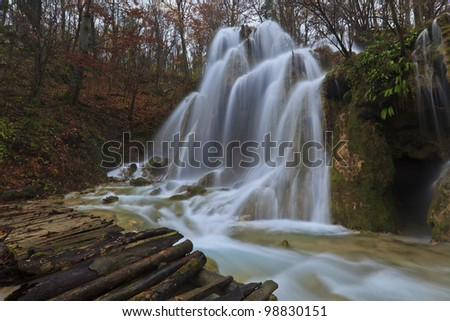Magic waterfalls in the mountains in november - stock photo