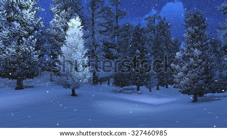 Magic winter scenery with snow-covered pinewood at snowfall night. Realistic 3D illustration was done from my own 3D rendering file. - stock photo
