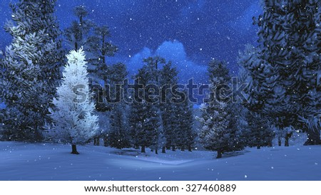 Magic winter scenery with snowy pine forest at snowfall night. Realistic 3D illustration was done from my own 3D rendering file. - stock photo
