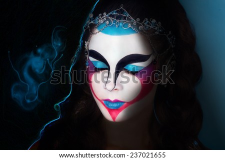 Magic Woman Face art Portrait of the magician with geometrical face art. Photo with big free dark space, area, place for text, your inscription or buttons, use this photo for the web cite or magazine. - stock photo