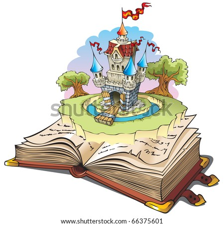 Magic world of tales, fairy castle appearing from the old book, raster from vector illustration - stock photo