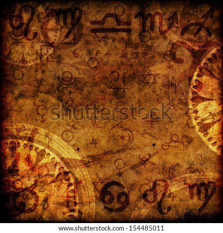 magic zodiac vinatage sepia background - stock photo