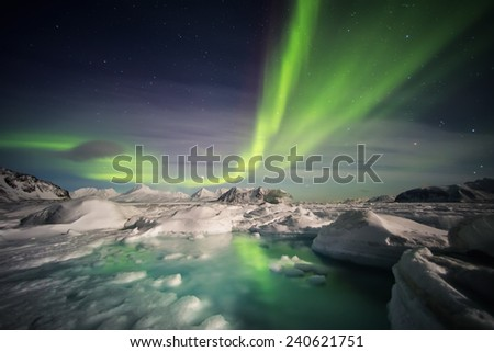 Magical Arctic Polar Night - Spitsbergen - stock photo