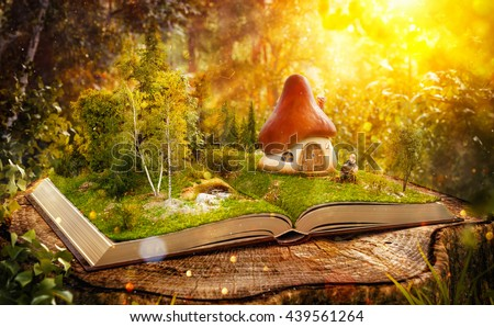magical cartoon mushroom house on pages stock illustration 439561264