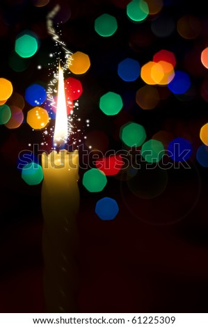 Magical christmas new-year's candle - stock photo