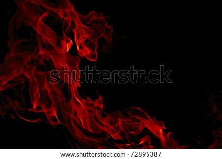Magical fiery background. Night bonfire in the street and flames - stock photo