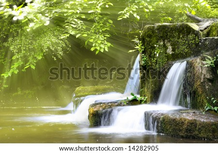 Magical forest waters with wide angle long exposure capture, also available in autumn Colors - stock photo