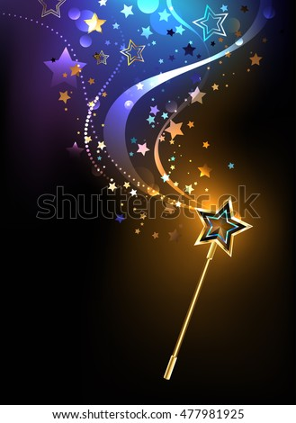 magical golden wand with golden stars on a black background. Design with Golden Star. Magic wand.