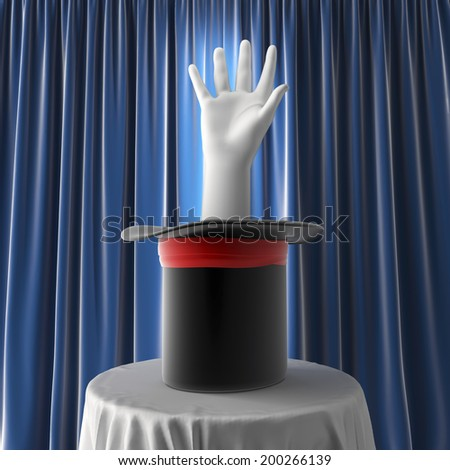 magical hat with hand over blue background - stock photo