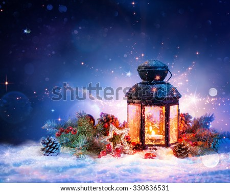 Magical Lantern On Snow With Christmas Decoration  - stock photo