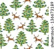 Magical Mosaic Christmas Trees Forest with Reindeer seamless pattern (repetitive) background with grunge texture. (for vector see image 119715373) - stock vector