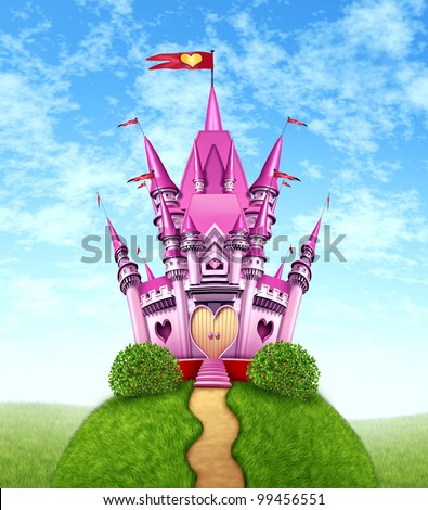 Magical pink castle as a fantasy princess royal kingdom on a green grass mountain top with a golden path as a fun girls dream of a fairy tale of nobility with heart shapes and magic elegance. - stock photo