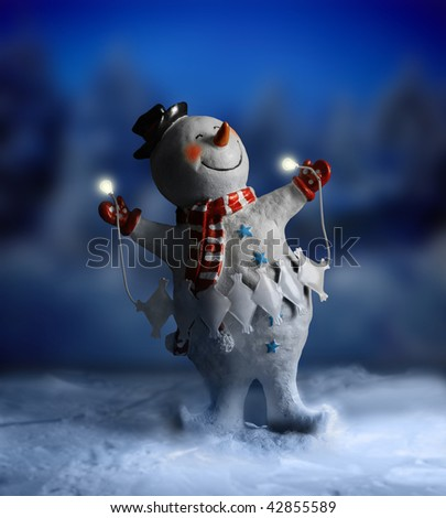 Magical smiling snowman against abstract winter night scene in snow - stock photo