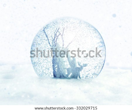 Magical snow globe. - stock photo
