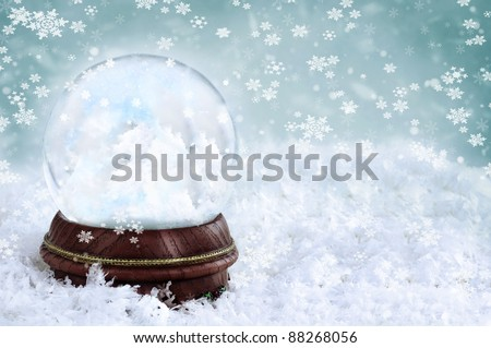 Magical snow globe with clouds and copy space inside. - stock photo