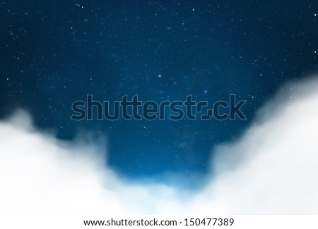 Magical starry night sky with clouds background - stock photo