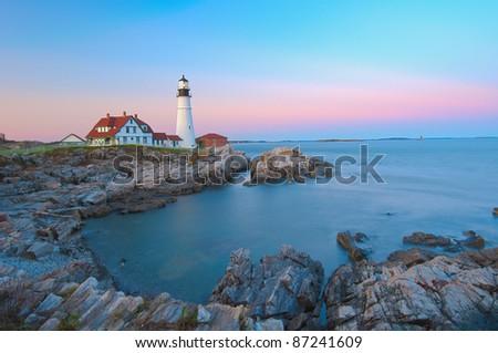 Magical sunset at the iconic Portland Head Light. Portland, Maine - stock photo
