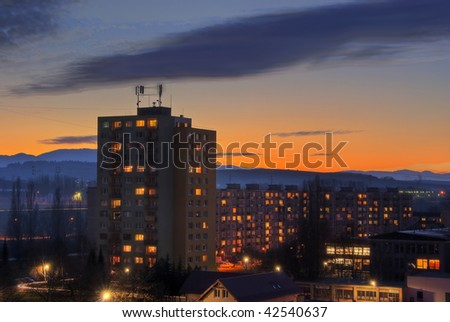 Magical sunset over apartment  house - HDR picture - stock photo