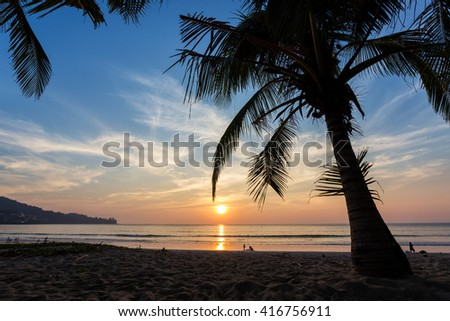 Magical sunset seen from under a coconut tree at Kamala beach in Phuket Thailand - stock photo