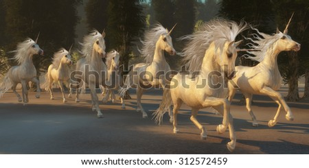 Magical Unicorn Forest - A herd of magical white unicorns with wondrous manes and tails gallop through the forest. - stock photo
