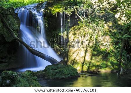 Magical Vaioaga waterfall in Transylvania, Romania, Europe - stock photo