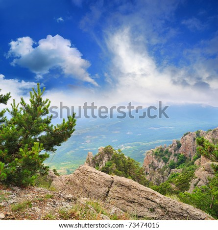 magical view from the mountains to the valley - stock photo