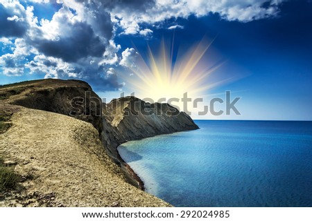 Magical view of the Crimean mountains in the summer. - stock photo