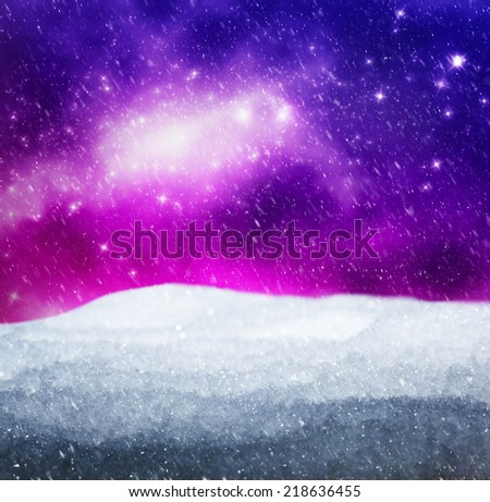 Magical winter landscape. Snow, sky with glowing stars. Merry Christmas! - stock photo