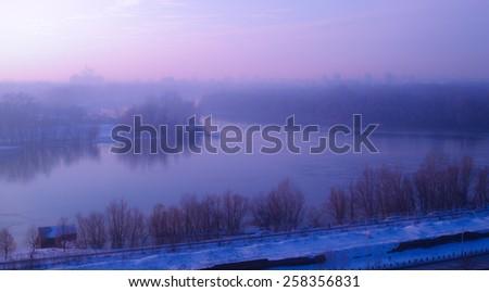 Magical winter light over the Danube, in Belgrade, Serbia. - stock photo