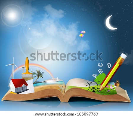magical world of reading: magic book - stock photo