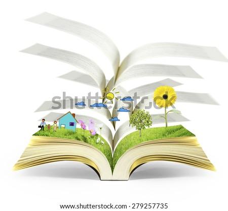 magical world of reading,open  magic book - stock photo